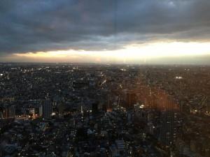 遠くに富士山のシルエットが見えます