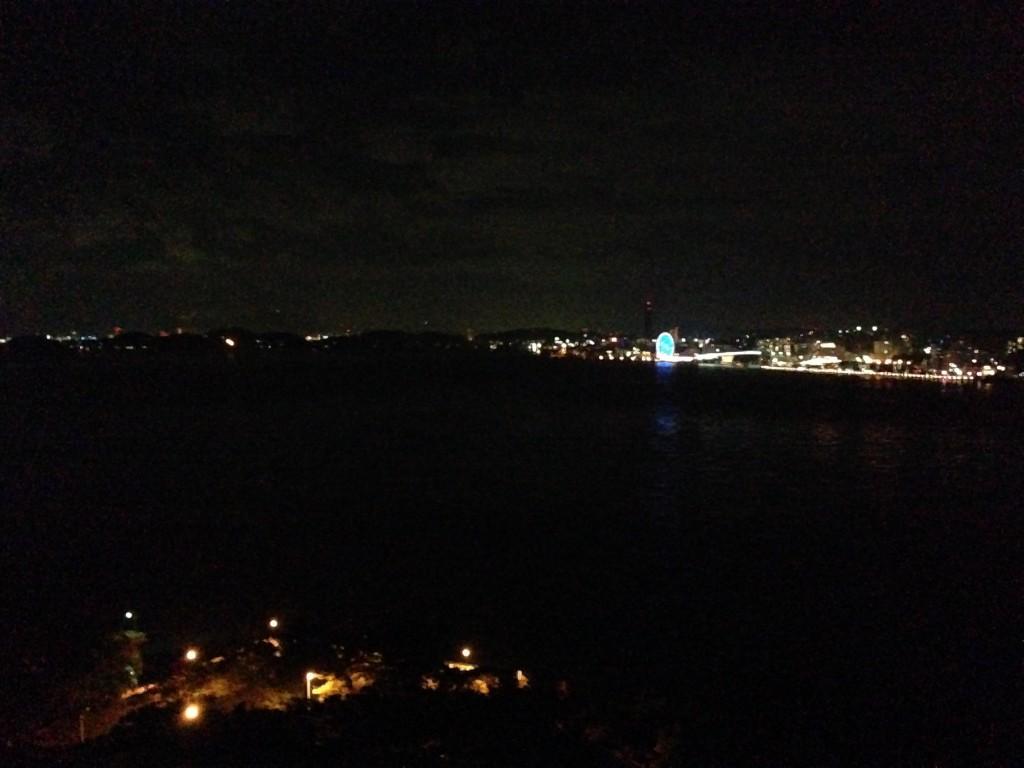 下関の夜景が遠くに見える。青い光が観覧車。