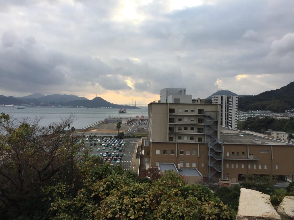 関見台公園からの眺め。関門海峡方面。
